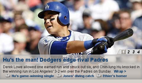 Hu's the man! Dodgers edge rival Padres